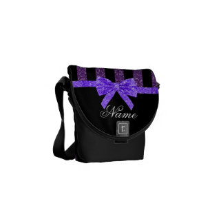 Custom name purple glitter stripes glitter bow messenger bag