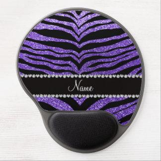 Custom name purple glitter tiger stripes gel mousepads