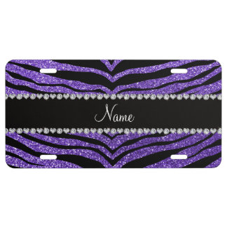 Custom name purple glitter tiger stripes license plate