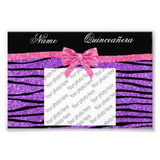 Custom name purple glitter zebra quinceañera photo art