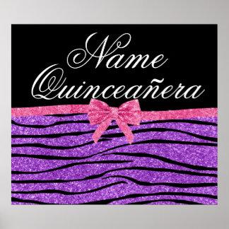 Custom name purple glitter zebra quinceañera posters