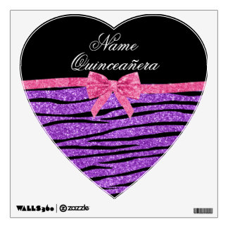 Custom name purple glitter zebra quinceañera wall decals