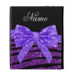 Custom name purple glitter zebra stripes bow iPad folio covers