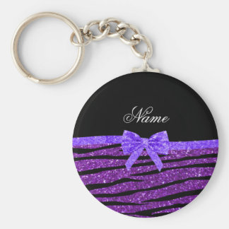 Custom name purple glitter zebra stripes bow keychain