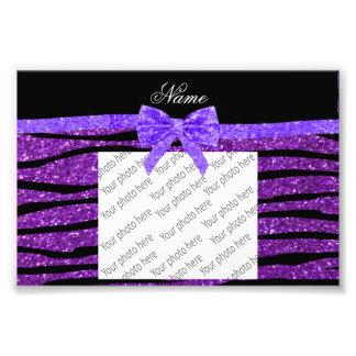 Custom name purple glitter zebra stripes bow photo print