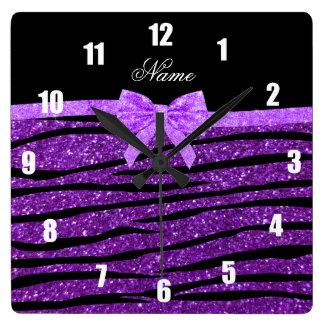 Custom name purple glitter zebra stripes bow square wall clock