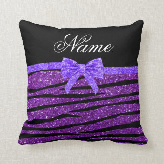 Custom name purple glitter zebra stripes bow throw pillow