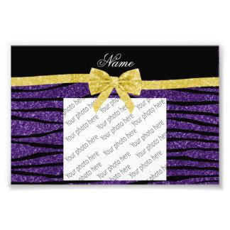 Custom name purple glitter zebra stripes gold bow photo print