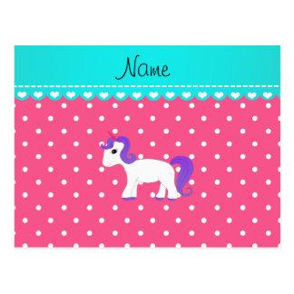 Custom name purple hair unicorn pink tiny dots postcard