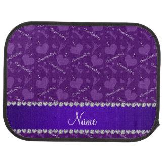 Custom name purple i love cheerleading hearts car floor mat