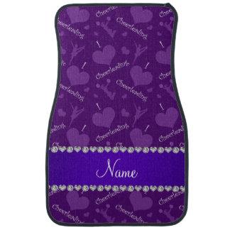 Custom name purple i love cheerleading hearts car mat