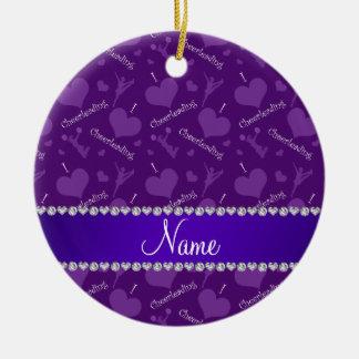 Custom name purple i love cheerleading hearts ceramic ornament
