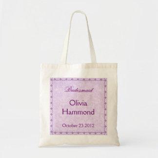 CUSTOM NAME Purple Lace Bridesmaid Wedding Tote Bag