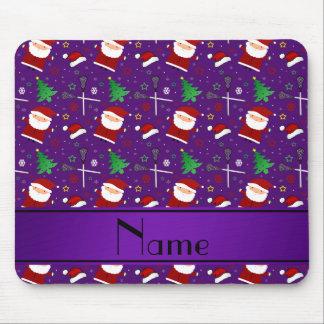 Custom name purple lacrosse christmas pattern mousepads