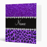 Custom name purple leopard indigo purple glitter vinyl binder