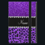 "Custom name purple leopard indigo purple glitter iPad mini case<br><div class=""desc"">Modern and trendy leopard gift ideas. Purple leopard animal print pattern background and indigo purple glitter (not real glitter) black diamonds stripe (faux diamonds, not real) with hearts and dots personalized with your name gifts or monogram gifts or your initials. Ideal for birthdays, weddings, parties and much more featuring an...</div>"