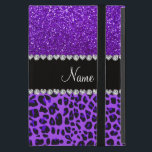 """Custom name purple leopard indigo purple glitter iPad mini case<br><div class=""""desc"""">Modern and trendy leopard gift ideas. Purple leopard animal print pattern background and indigo purple glitter (not real glitter) black diamonds stripe (faux diamonds, not real) with hearts and dots personalized with your name gifts or monogram gifts or your initials. Ideal for birthdays, weddings, parties and much more featuring an...</div>"""