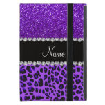 Custom name purple leopard indigo purple glitter iPad mini case<br><div class='desc'>Modern and trendy leopard gift ideas. Purple leopard animal print pattern background and indigo purple glitter (not real glitter) black diamonds stripe (faux diamonds, not real) with hearts and dots personalized with your name gifts or monogram gifts or your initials. Ideal for birthdays, weddings, parties and much more featuring an...</div>