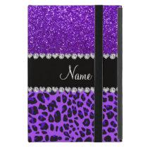 Custom name purple leopard indigo purple glitter iPad mini case
