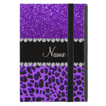 Custom name purple leopard indigo purple glitter iPad mini cases