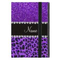 Custom name purple leopard indigo purple glitter iPad mini cases at Zazzle
