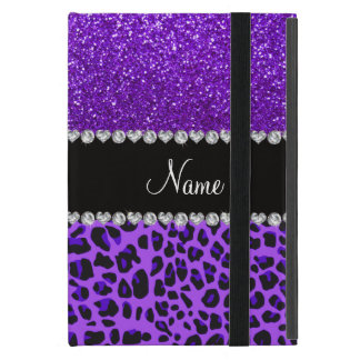 Custom name purple leopard indigo purple glitter iPad mini cases