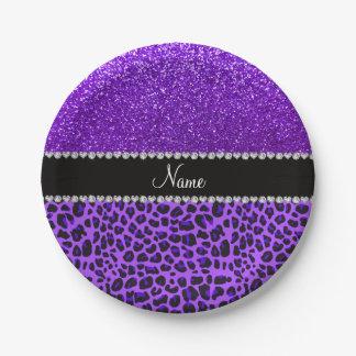 Custom name purple leopard indigo purple glitter 7 inch paper plate