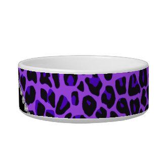 Custom name purple leopard neon hot pink glitter bowl