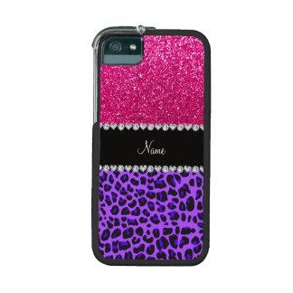 Custom name purple leopard neon hot pink glitter iPhone 5/5S covers