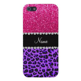 Custom name purple leopard neon hot pink glitter iPhone 5/5S case