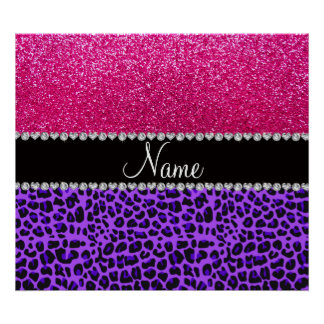 Custom name purple leopard neon hot pink glitter poster