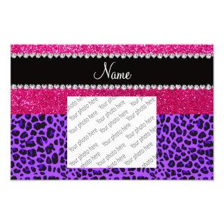 Custom name purple leopard neon hot pink glitter photographic print