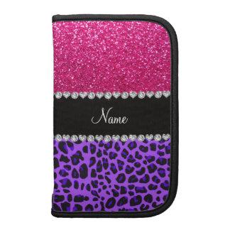 Custom name purple leopard neon hot pink glitter organizers