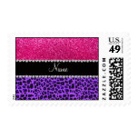 Custom name purple leopard neon hot pink glitter postage