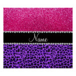 Custom name purple leopard neon hot pink glitter poster