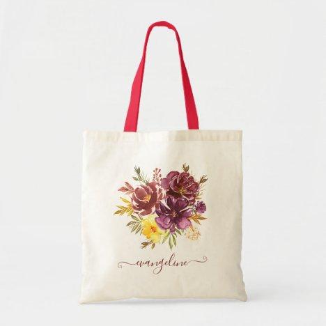 Custom Name Purple Maroon Floral Watercolor Pretty Tote Bag