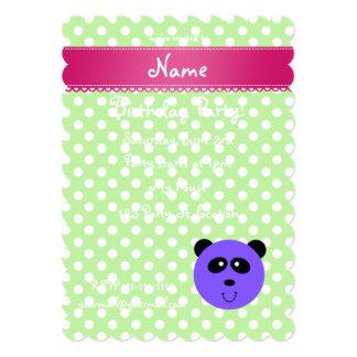 Custom name purple panda face green white dots 5x7 paper invitation card