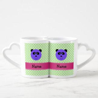 Custom name purple panda face green white dots coffee mug set