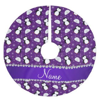 Custom name purple penguins igloos snowflakes brushed polyester tree skirt