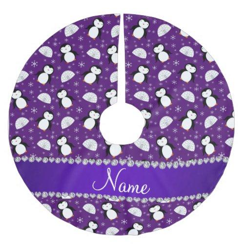 Custom name purple penguins igloos snowflakes brushed polyester tree skirt
