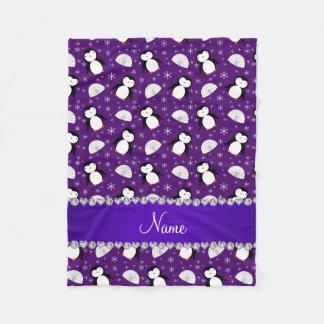 Custom name purple penguins igloos snowflakes fleece blanket