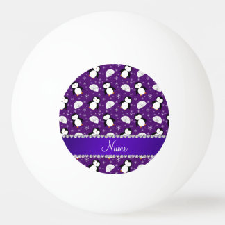Custom name purple penguins igloos snowflakes ping pong ball