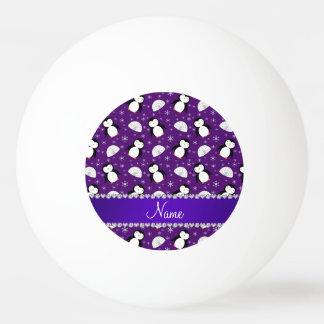 Custom name purple penguins igloos snowflakes ping pong ball
