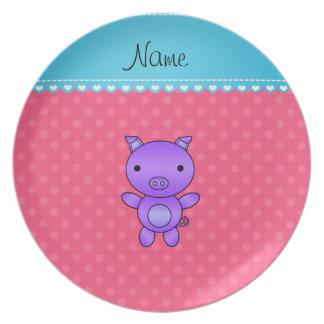 Custom name purple pig pink polka dots plate