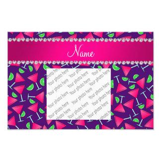 Custom name purple pink cosmos limes photo print