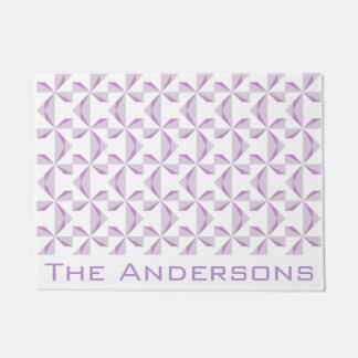 Custom Name Purple Pinwheels Doormat