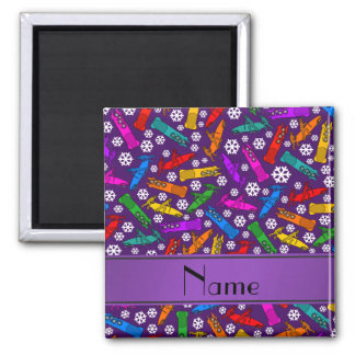 Custom name purple rainbow bobsleigh snowflakes 2 inch square magnet