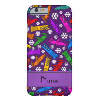 Custom name purple rainbow bobsleigh snowflakes barely there iPhone 6 case