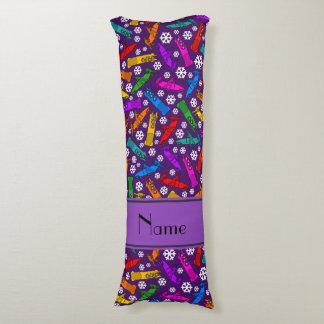 Custom name purple rainbow bobsleigh snowflakes body pillow