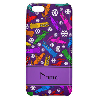Custom name purple rainbow bobsleigh snowflakes case for iPhone 5C